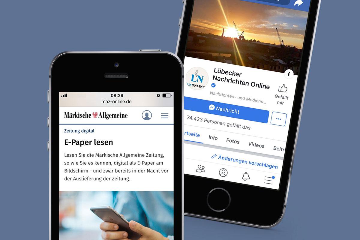 Mobiltelefone mit Screenshots von MAZ und LN